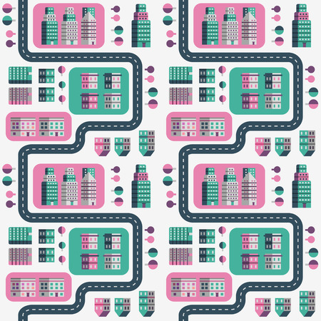 pat: Town infographic elements. Vector city elements. Seamless pattern