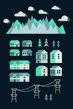 owning: Town infographic elements. Vector city elements for create your own city map. Create your own town! Map elements for your pattern, web site or other type of design.Vector illustration. Ski resort Illustration