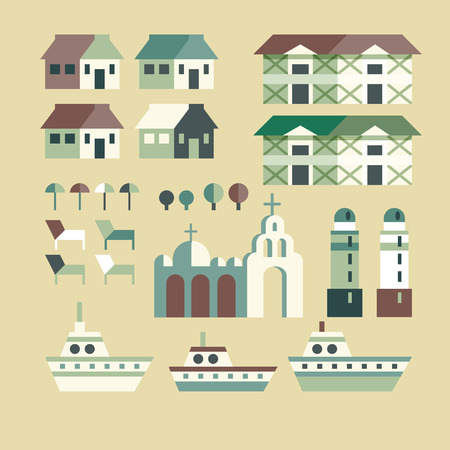 pat: Town infographic elements. Vector city elements. Vector illustration. Illustration