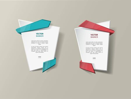 text boxes: Vector infographic origami banners set.