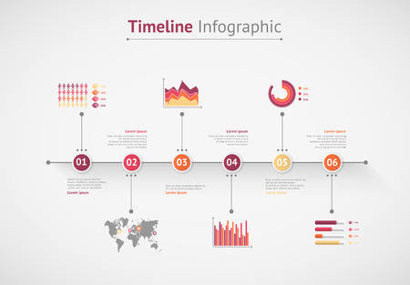 time line: Timeline vector infographic. World map