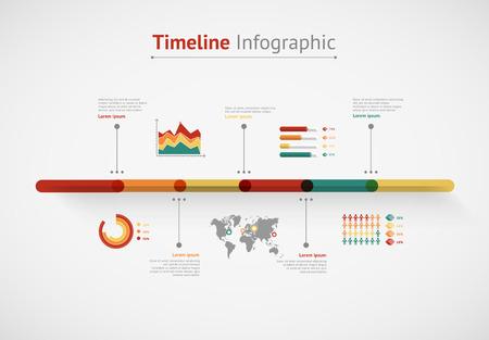 fila de personas: Infograf�a vector de l�nea de tiempo. Mapa del mundo Vectores