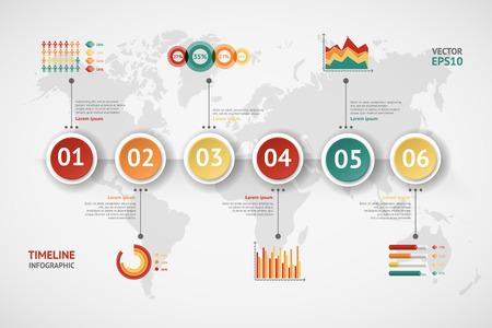 Infografía vector de línea de tiempo. Mapa del mundo Foto de archivo - 37220713
