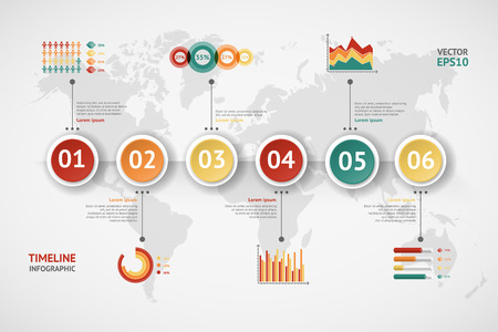 web design template: Timeline vector infographic. World map
