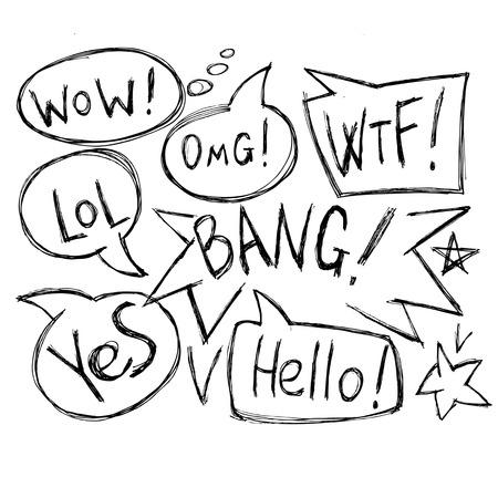 rnart: Vector hand drawn speech bubbles. Hand drawn doodle vector text box collection.;