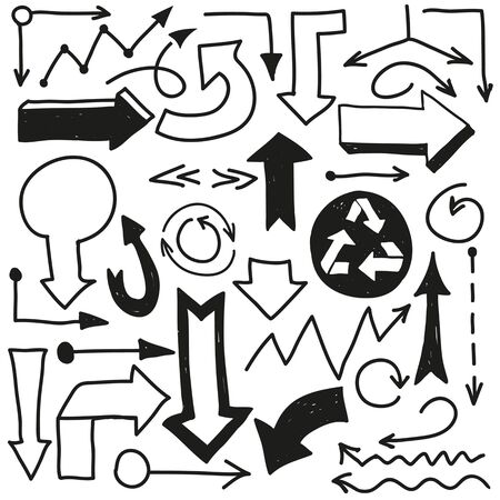 rnart: Vector hand drawn arrows. Hand drawn doodle vector text box collection. Illustration
