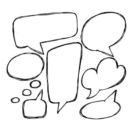 벡터 손으로 그려진 된 연설 거품입니다. 손으로 그린 낙서 벡터 텍스트 상자 컬렉션입니다.