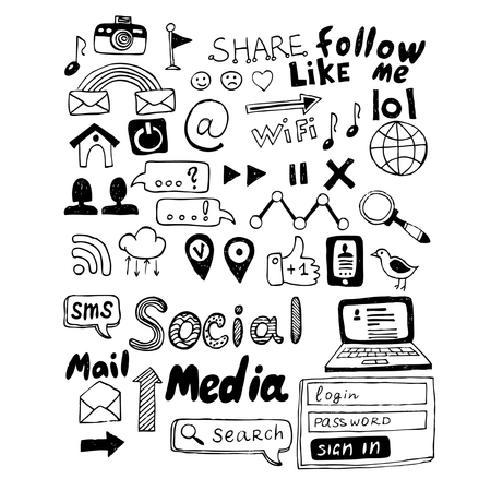 Hand drawn vector illustration set of social media sign and symbol doodles elements. Isolated on dark background