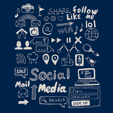 social: Hand drawn vector illustration set of social media sign and symbol doodles elements. Isolated on dark background