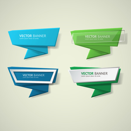Vector infographic origami banners set.