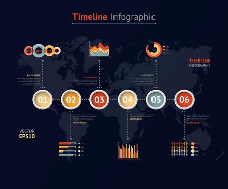 timeline: Timeline vector infographic. World map