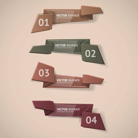 Vector infographic origami banners set. Vector