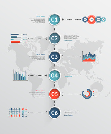 Timeline vector infographic. World map Vector