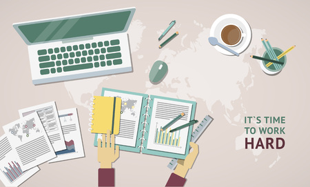 Set of flat design items for business, finance, marketing, graphic design development, project management. Icons for website design and infographics.
