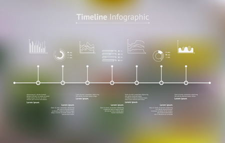 line design: Timeline infographic with unfocused background and icons set. World map