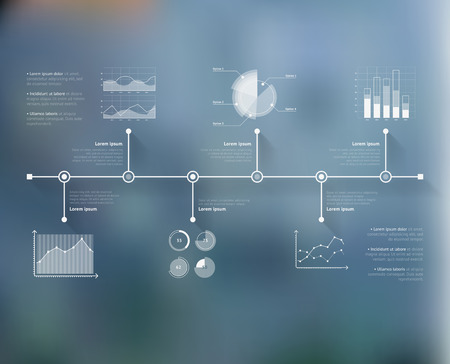 unfocused: Timeline infographic with unfocused background and icons set. World map