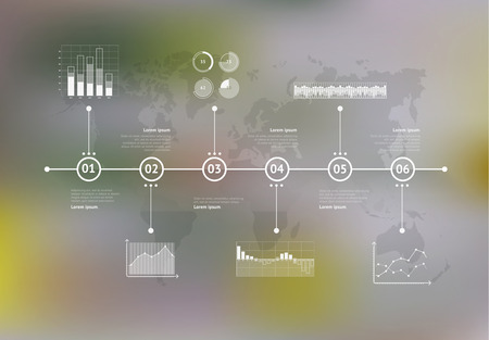 time line: Timeline infographic with unfocused background and icons set. World map