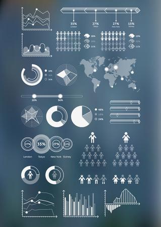 세계지도 infographicwith 산만 배경과 아이콘을 설정합니다. 벡터 일러스트 레이 션
