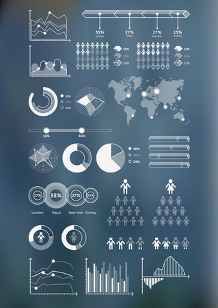 World map infographicwith unfocused background and icons set. Vector illustration Ilustração