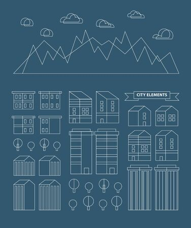 industrial design: Flat linear city Infographic. Vector town illustration