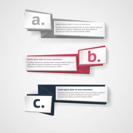note paper: Vector infographic origami banners set.