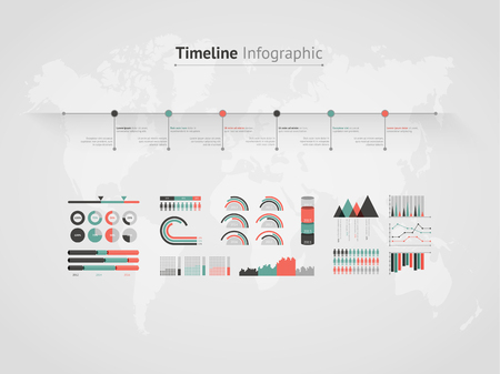 Timeline vector infographic. World map