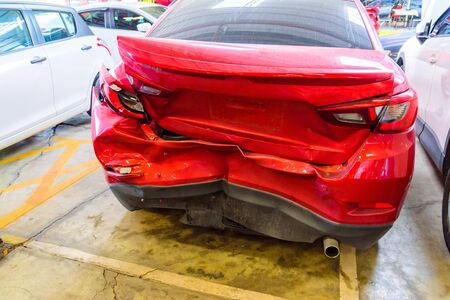 collide: Rear of red car get accident hit the damage until crash Stock Photo