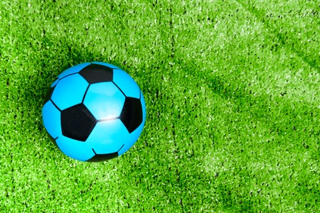 The blue soccer ball is on the green lawn or green grass