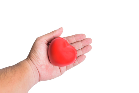 The concept of love or health, with a red heart on hand. To express love or health care media.on white background or isolated Stock Photo