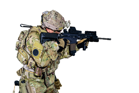 The military or soldier holding machine guns for ready to attack terrorists or bandits. isolated on white background. Banque d'images