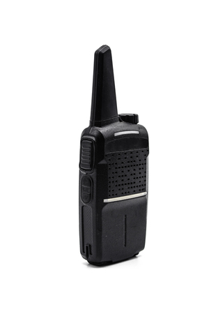 Black transceiver or walkie-talkie for speak and listen on white background or isolated