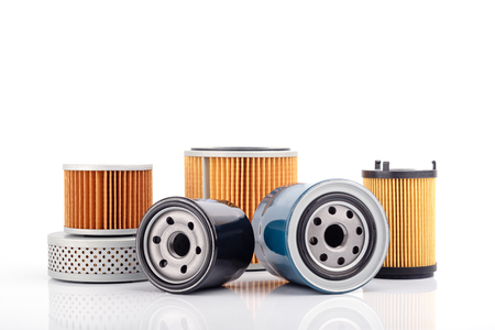 Auto parts accessories :  Oil , fuel or air filter for engine car  isolated on white background. Фото со стока