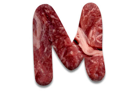 The letter m, the letters of which are laid out from the real meat of marble beef on a white background