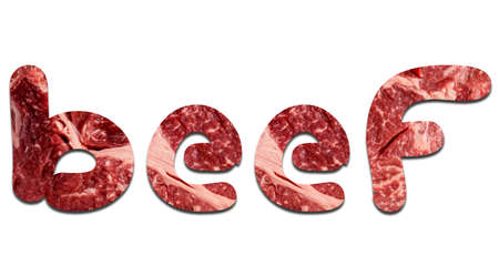 The word beef, the letters of which are laid out from the real meat of marble beef on a white background