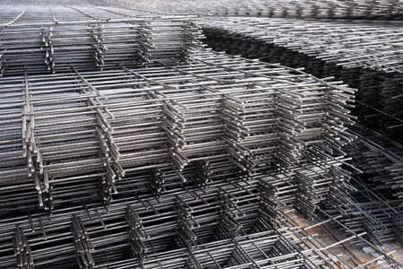 Rebar, reinforcing bars or steel close up, reinforcement steel, wires mesh of steel used as a tension device in reinforced concrete
