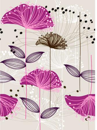 beige stof: Herhaal bloem achtergrond Stock Illustratie