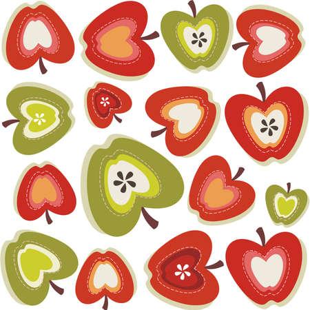apple and orange: Retro apple pattern