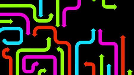 diverge: Maze of varicolored arrows on black background, 2d illustration