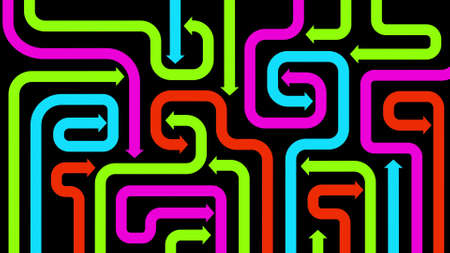 Maze of colorful arrows on black, 2d illustration