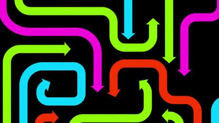 Plexus of colorful arrows on black, 2d illustration
