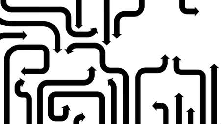 diverge: Black arrows on white background, 2d illustration