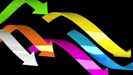 Varicolored arrows on black background, 3d illustration