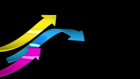 frizzy: Colorful arrows on black background, 3d illustration