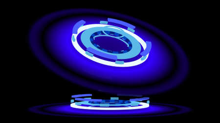 halation: Blue glowing wheels, 3d illustration Stock Photo