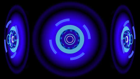 ring flash: Blue glowing wheels, 3d illustration Stock Photo