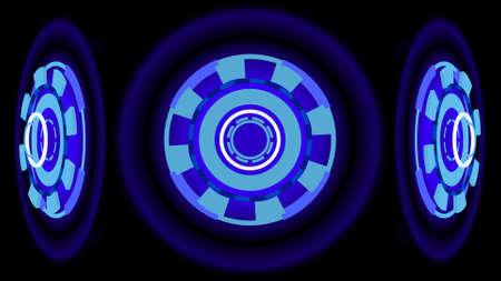 aureole: Blue glowing wheels, 3d illustration Stock Photo