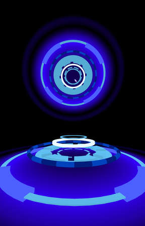 aureole: Sci-fi neon disks, abstract background, 3d illustration