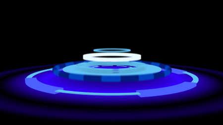 Sci-fi neon podium, 3d illustration