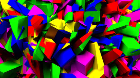 glow stick: Colorful blocks and pieces background, 3d illustration