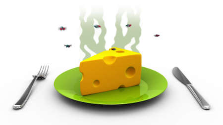 revolting: Smelly Cheese with flies, 3d illustration Stock Photo